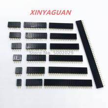 2.54mm pitch única linha fêmea 2 40 40p pcb placa de soquete pino encabeçamento conector tira pinheader 2/3/4/6/10/12/16/20/40pin para arduino