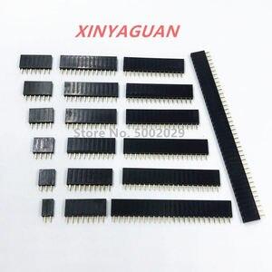 2.54mm Pitch Single Row Female 2~40P PCB socket Board Pin Header Connector Strip Pinheader 2/3/4/6/10/12/16/20/40Pin For Arduino