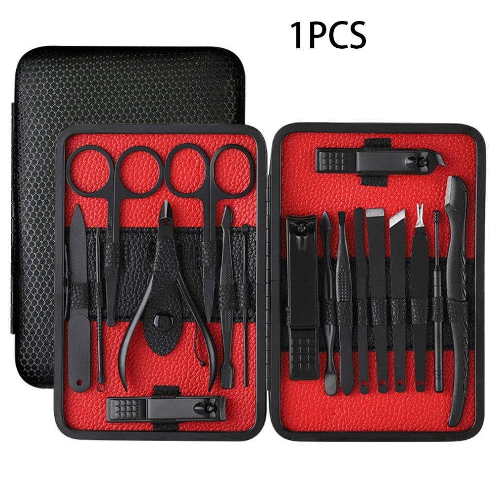 conjunto de beleza de aco inoxidavel preto 18 pecas conjunto cortador de unhas pedicure faca pratica