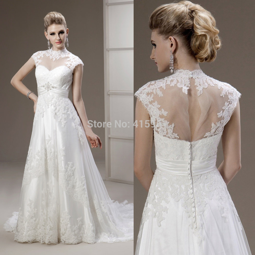 2019 Robe De Mariee Wedding Dresses High Neck Lace Bridal Gowns Cap Sleeves See Through Back Vestido De Noiva Wedding Dress