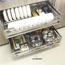 FGLL-001 двухслойная выдвижная корзина 201/304 тарелка из нержавеющей стали для шкафа с выдвижными ящиками для кухонного шкафа корзина гидравлическая демпфирующая квадратная трубка