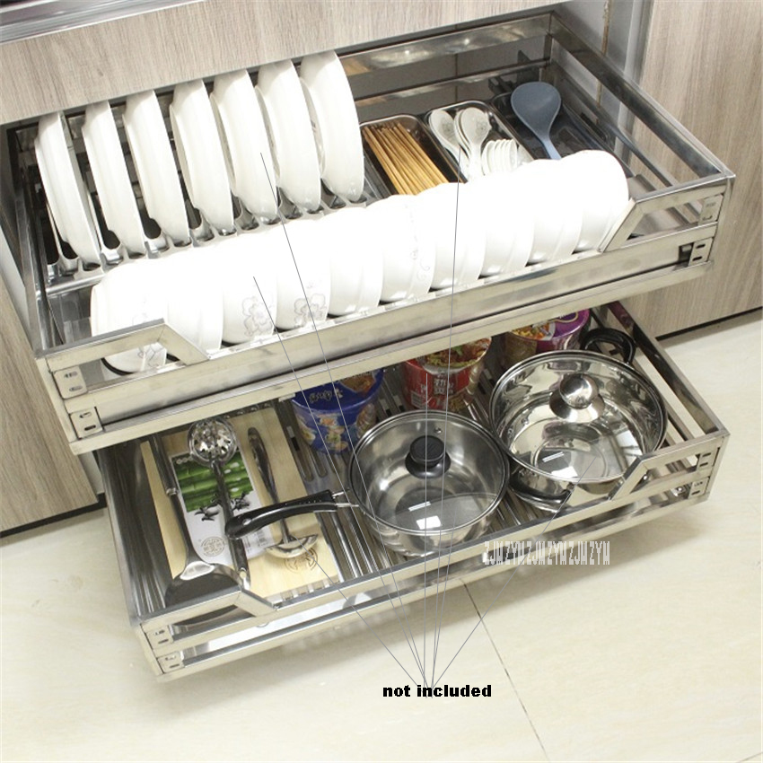 FGLL-001 Double-Deck Pull-Out Basket 201/304 Stainless Steel Dish Drawer Kitchen Cabinet Basket Hydraulic Damping Square Tube