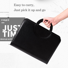A4 notebook Document Folder PU Leather Zipped Ring Binder portable Conference Bag Business Briefcase Office School