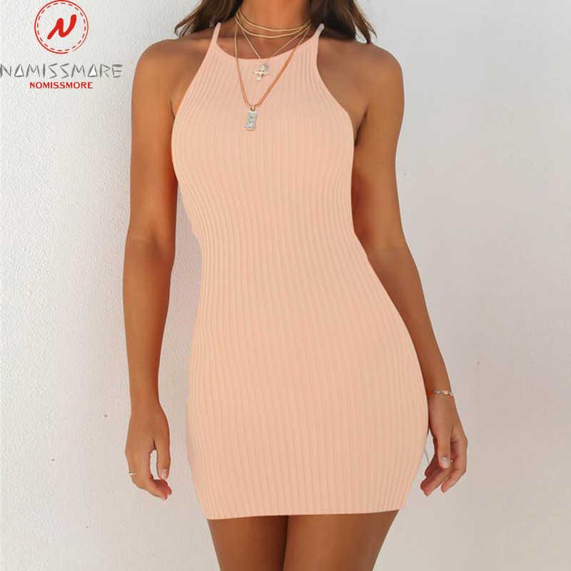 Vestido acanalado mujer vestido de verano Sexy sin mangas Sling ceñido vestido moda Color sólido Mini vestido elegante Oficina señora ropa