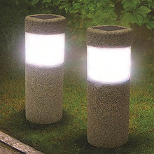 Solar Power Stone Pillar White LED Light Garden Lawn Courtyard Decoration Lamp Landscape Solar Pathway Light Solar Light(China)