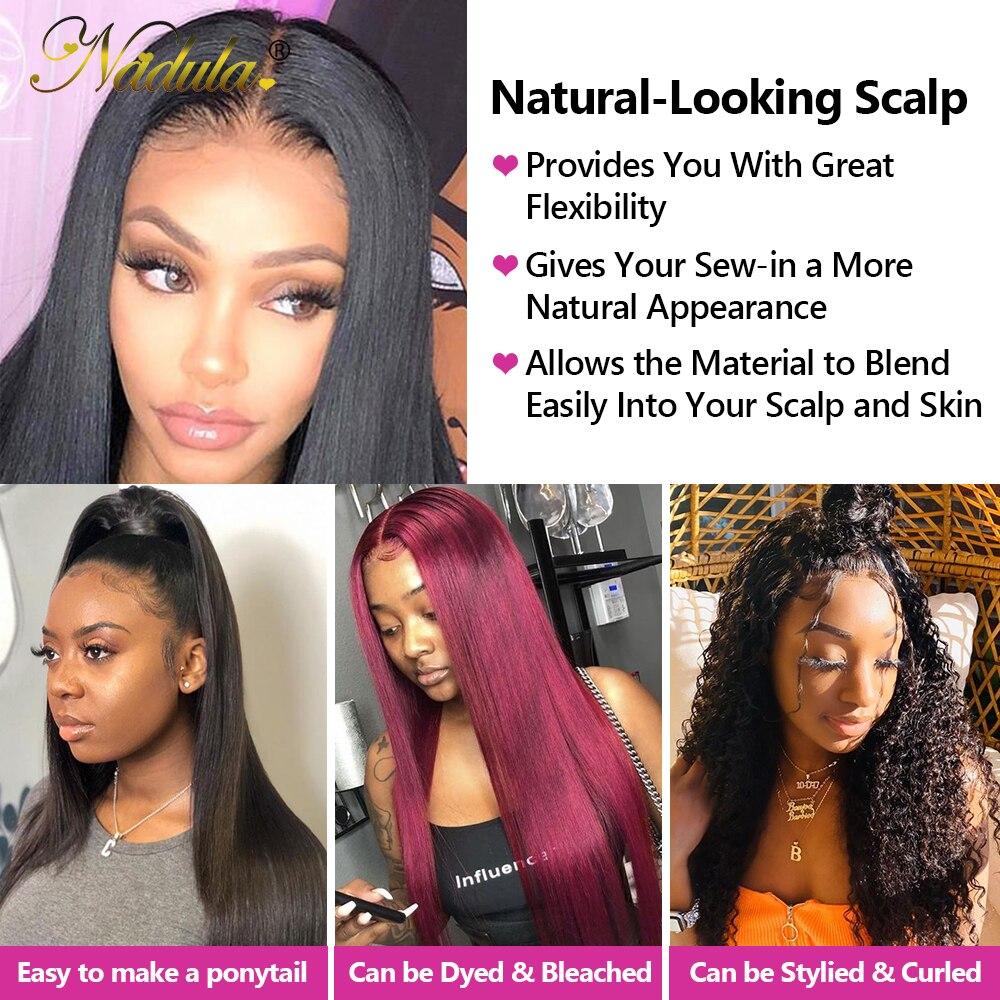 NADULA HAIR 13*4 Lace Closure Frontal Straight Hair Bundles With Frontal  3 Bundles with Closure 4x4 Silk Base 6