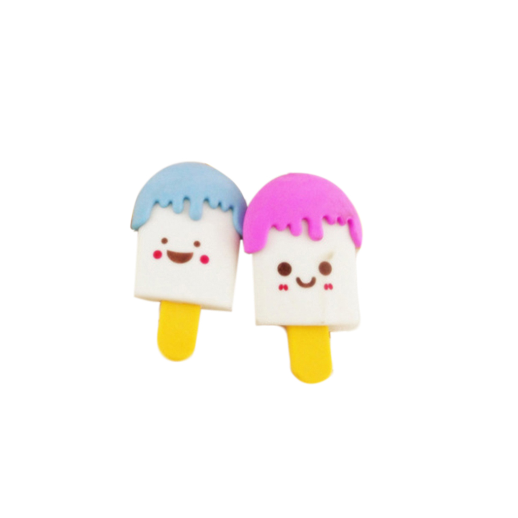 ZHUTING 2pcs Mini Ice Cream Frozen Treat Erasers For Children Favors School Supplies
