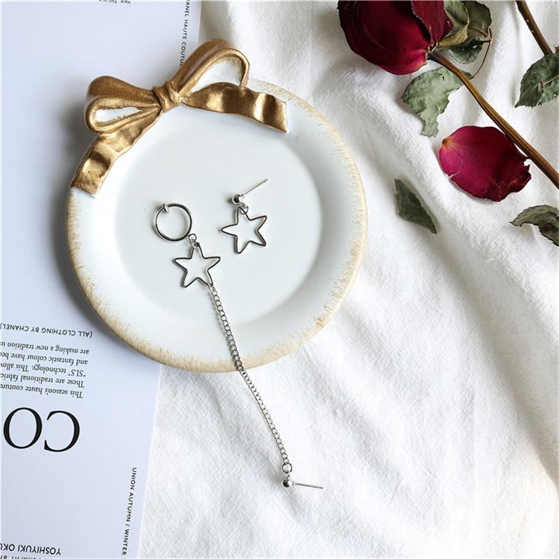 Asymmetric Empty Pentagram Star Love Heart Chain Pendant Earrings Hip Hop Cool Girl Rock Disco Earrings in Drop Earrings from Jewelry Accessories