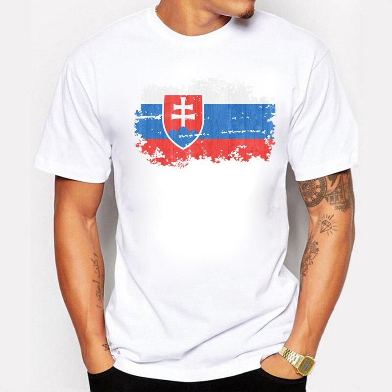 2019 Top Quality Nostalgic Style Slovakia National Flag Printed T Shirt Men Summer Short Sleeve Cotton Casual Men T-shirt