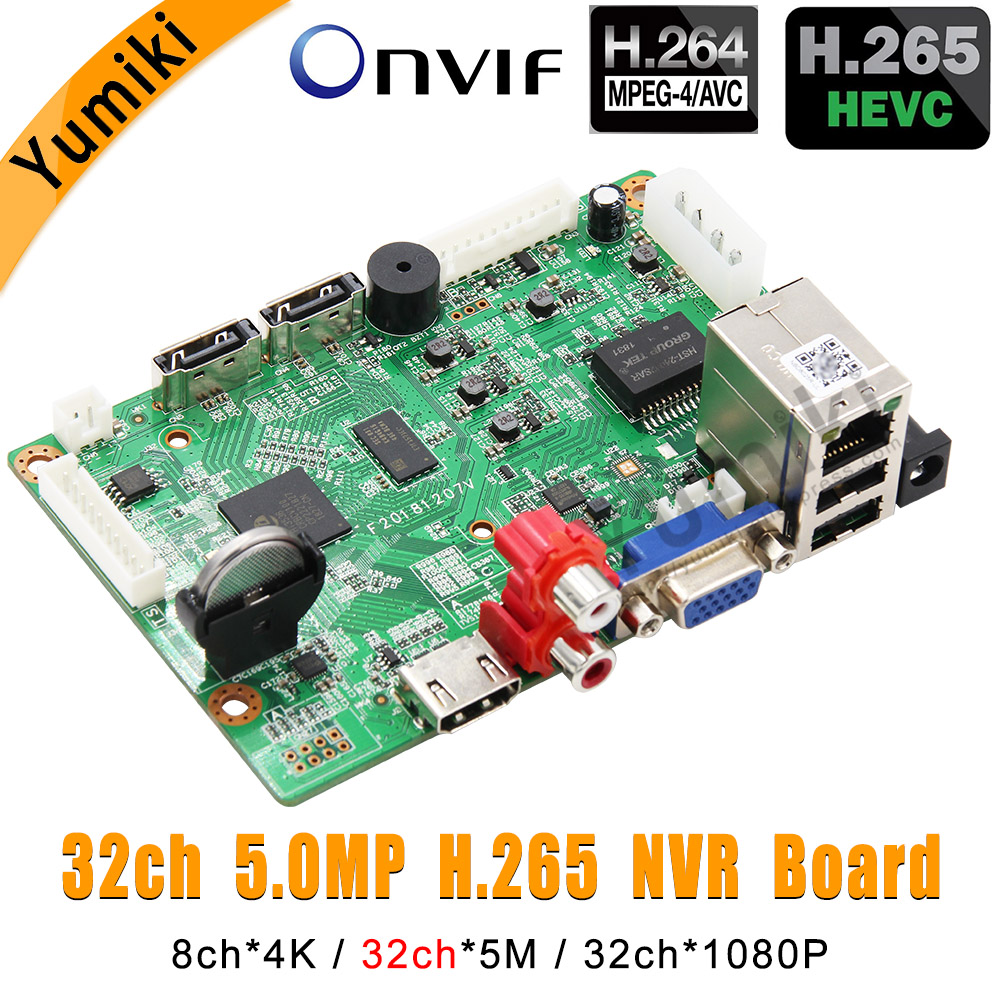 8ch 4K 32ch 5 0MP 32ch 1080P H 265 H 264 NVR Network Vidoe Recorder DVR Board IP Camera with SATA Line ONVIF CMS XMEYE