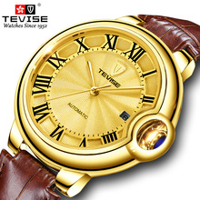 2020 TEVISE New Men Automatic Mechanical Watch Fashion Leather Strap Golden Dial Male Clock Top Luxury Brand Men Wristwatch цена 2017