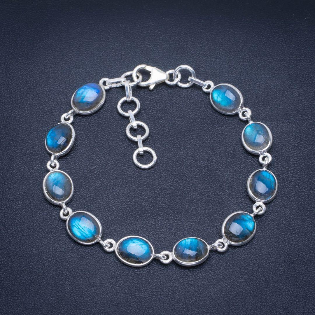 Bracelet en argent Sterling 925 fait main en Labradorite de feu bleu naturel 7-8