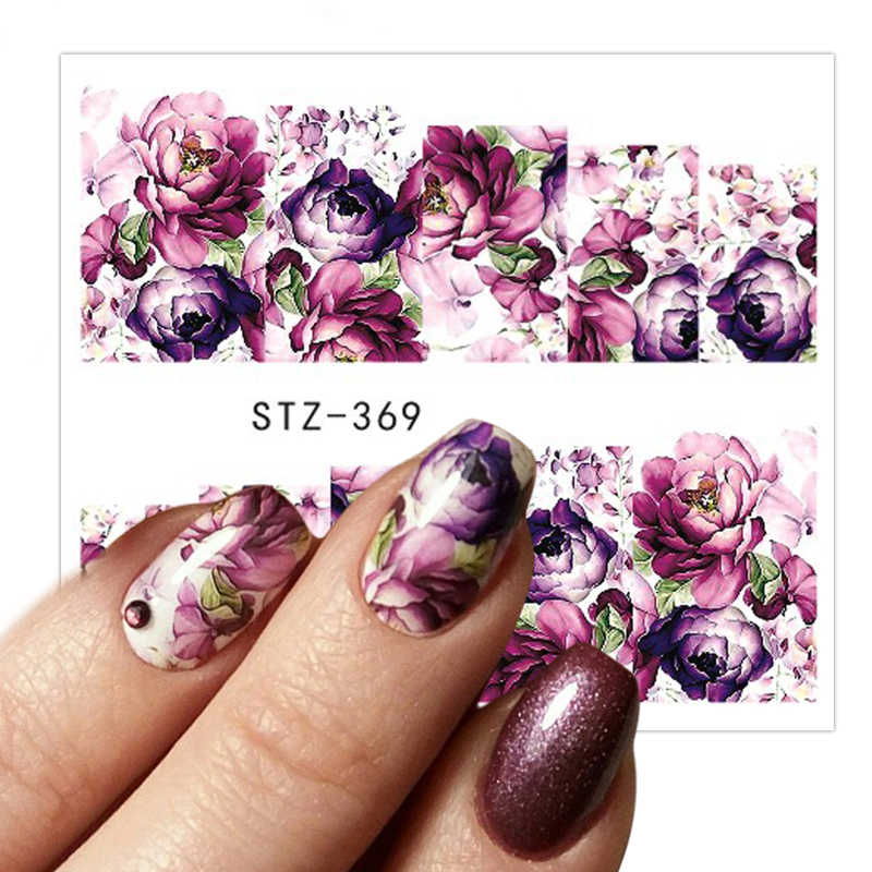 1 vel Water Transfer Vrouwen Volledige Cover Sticker Nail Art Decals Nail Art Beauty Purple Rose Decoraties Polish Tips TRSTZ369-352