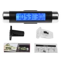 2in1 carro automático lcd clip on digital temperatura termômetro relógio calendário automotivo azul retroiluminação relógio|Relógios| |  -