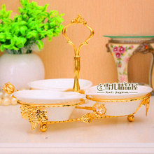 wedding decoration European Fruit Disk Dessert Fashion Golden Ceramic Set Home Hotel KTV Articles Creative Tray