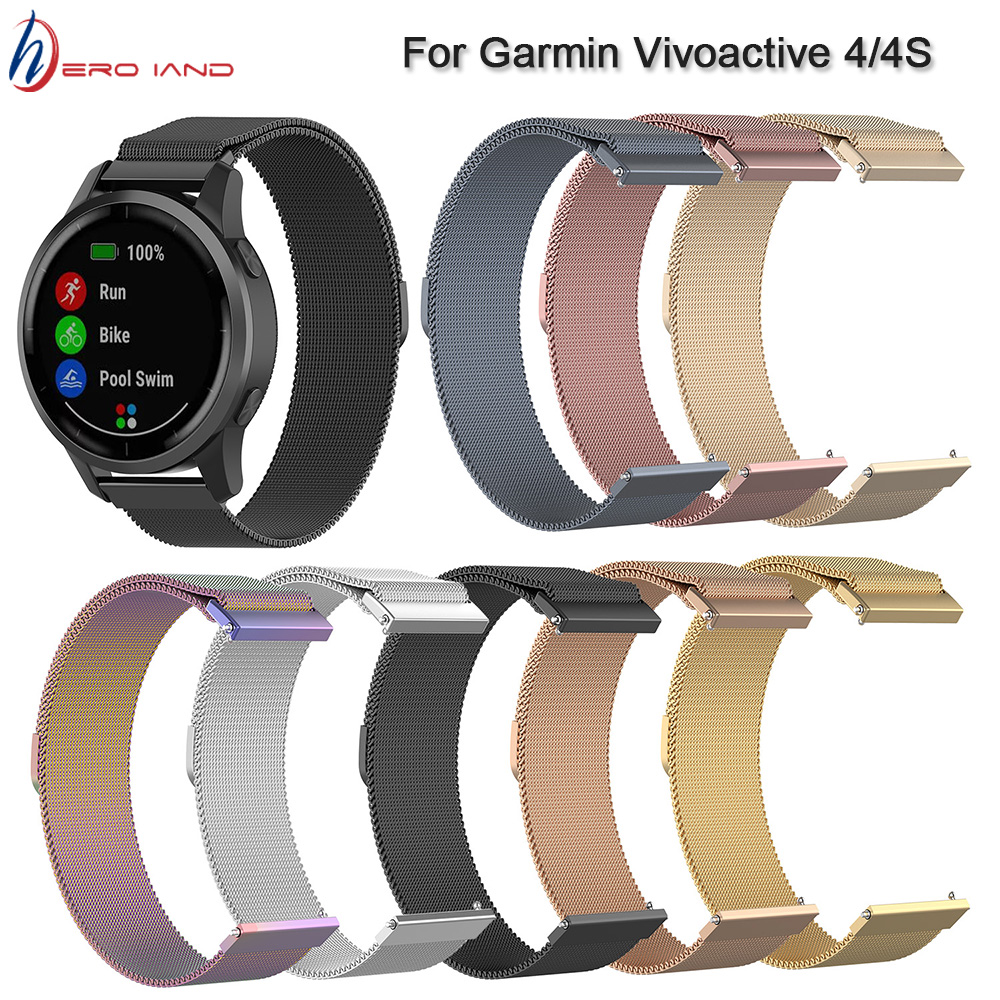 18 20 22MM Milanese Watch Band For Garmin Vivoactive 3 4 4S Watch Smart Band Bracelets Strap For Garmin Vivoactive3 Stainless