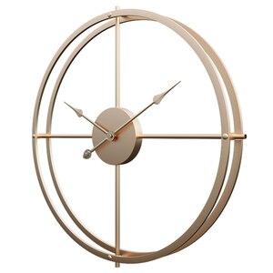 60 см ретро простые железные художественные тихие настенные часы для домашнего декора-цвет Шампань золотой