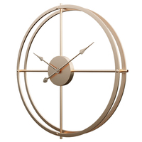 60cm Retro Simple Iron Art Silent Wall Clock for Home Decor Champagne Golden