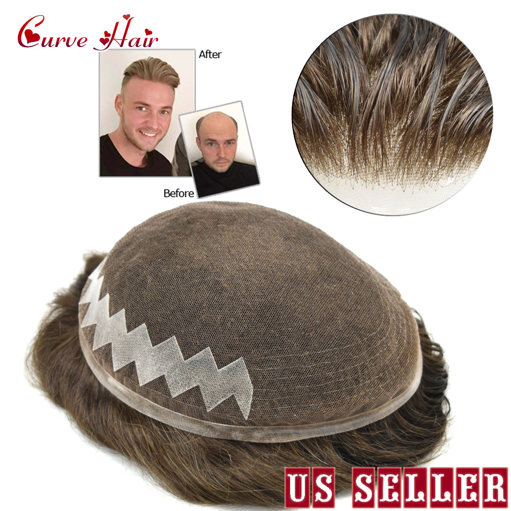 French Lace Front Mens Toupee Natural Hair-line Breathable Hairpiece Human Hair Replacement Mens Wig