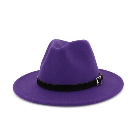 QIUBOSS Men Women Wide Brim Wool Felt Fedora Panama Hat with Belt Buckle Jazz Trilby Cap Party Formal Top Hat In White,black Islamabad