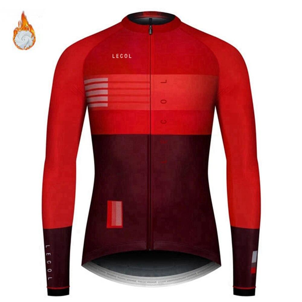 Homme à manches longues vélo maillot de cyclisme en POLAIRE VESTE VÉLO THERMIQUE Red Tops