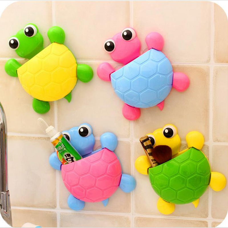 Cute Animal Toothbrush Holder Turtle Powerful Sucker Toothbrush Storage Rack Bathroom Suction Wall Type