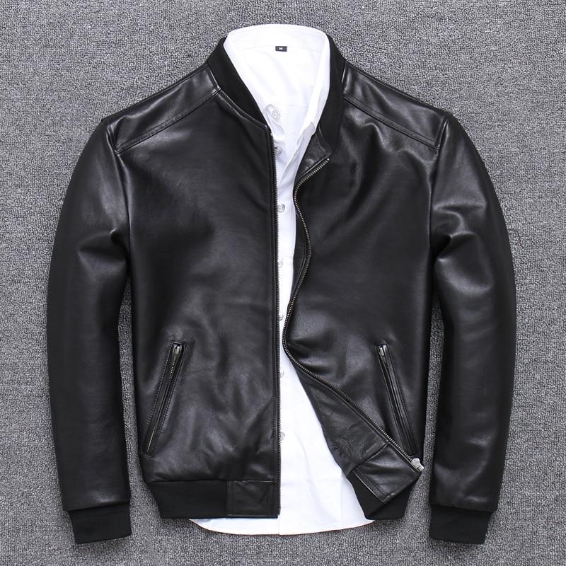 YR!Free Shipping.sales.Brand New Casual Style Leather Jacket.men Slim Sheepskin Coat.quality Soft Slim Bomber Jacket.baseball