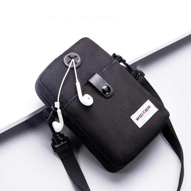 Mode Mannen Messenger Bag Telefoon Zak Crossbody Bag Mannen Schouder Handtas Multifunctionele Mannelijke Kleine Flap Zwart