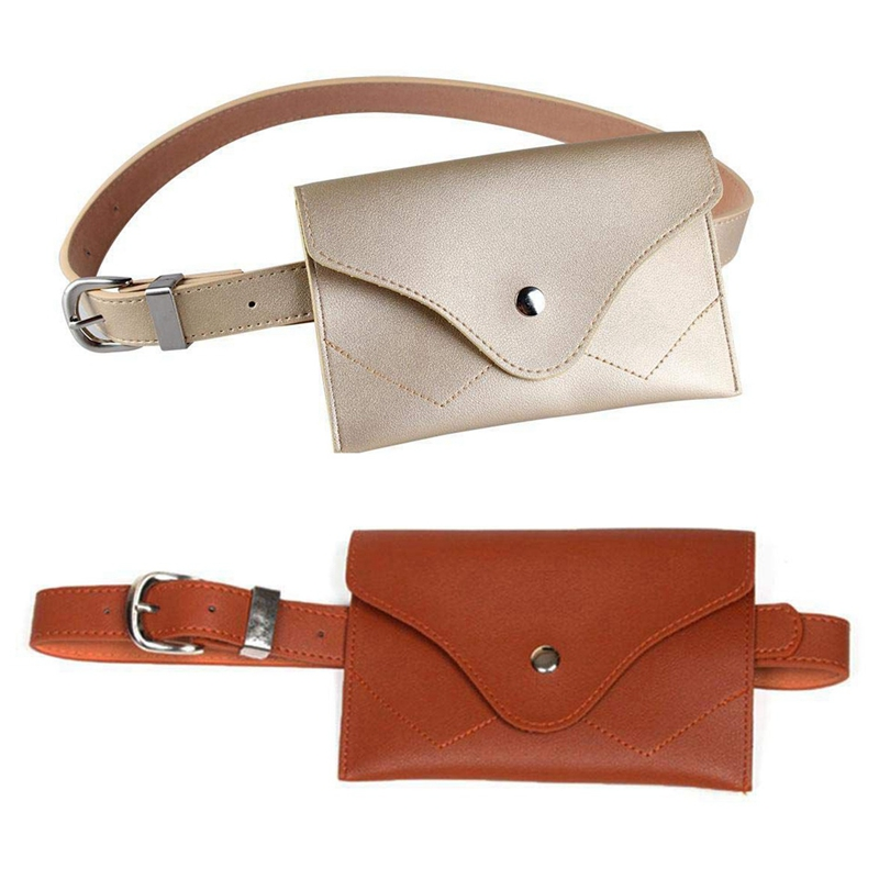 BEAU-2Pcs Women Fanny Pack, PU Leather Fanny Pack With Removable Belt Waist Pouch Fashion Girls Belt Bum Fanny Bag Brown & Gold