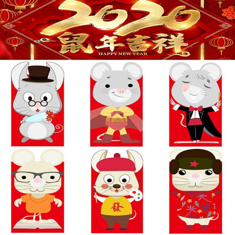 6 Stück Chinesische Neue Jahr Rote Paket Rot Umschlag 2020 Jahr der Ratte Glück DE