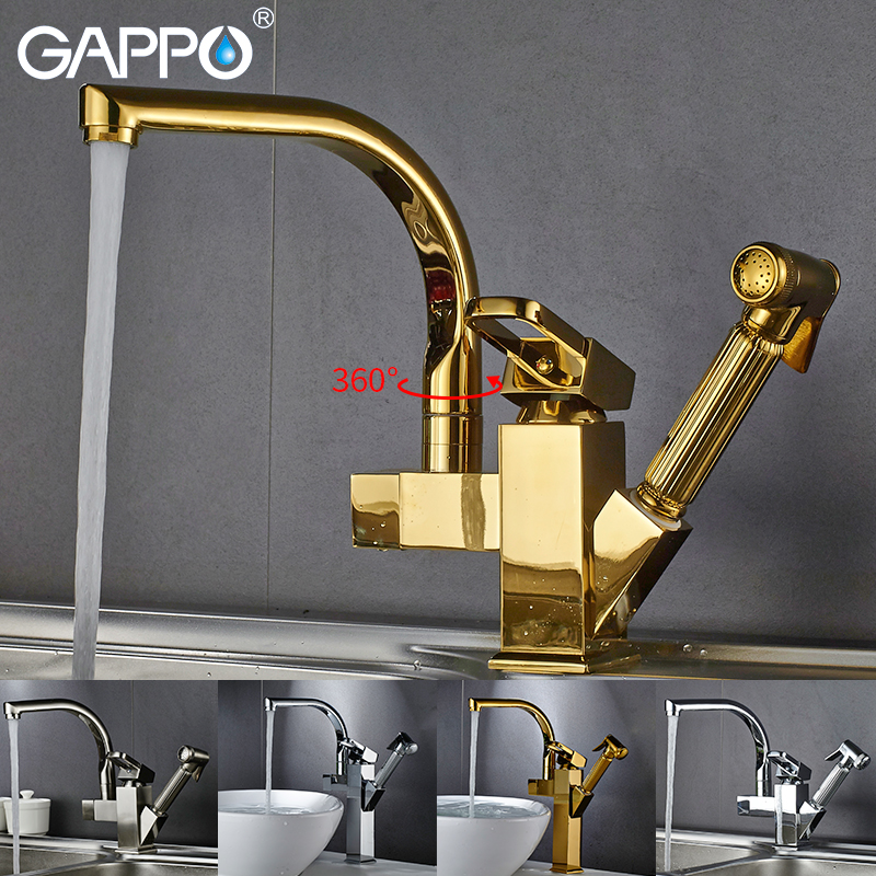Gappo Kitchen Faucets Rotatable Black Kitchen Water Sink Mixer Tap Kitchen Pull Out Water Mixer Taps Deck Mounted Armatur