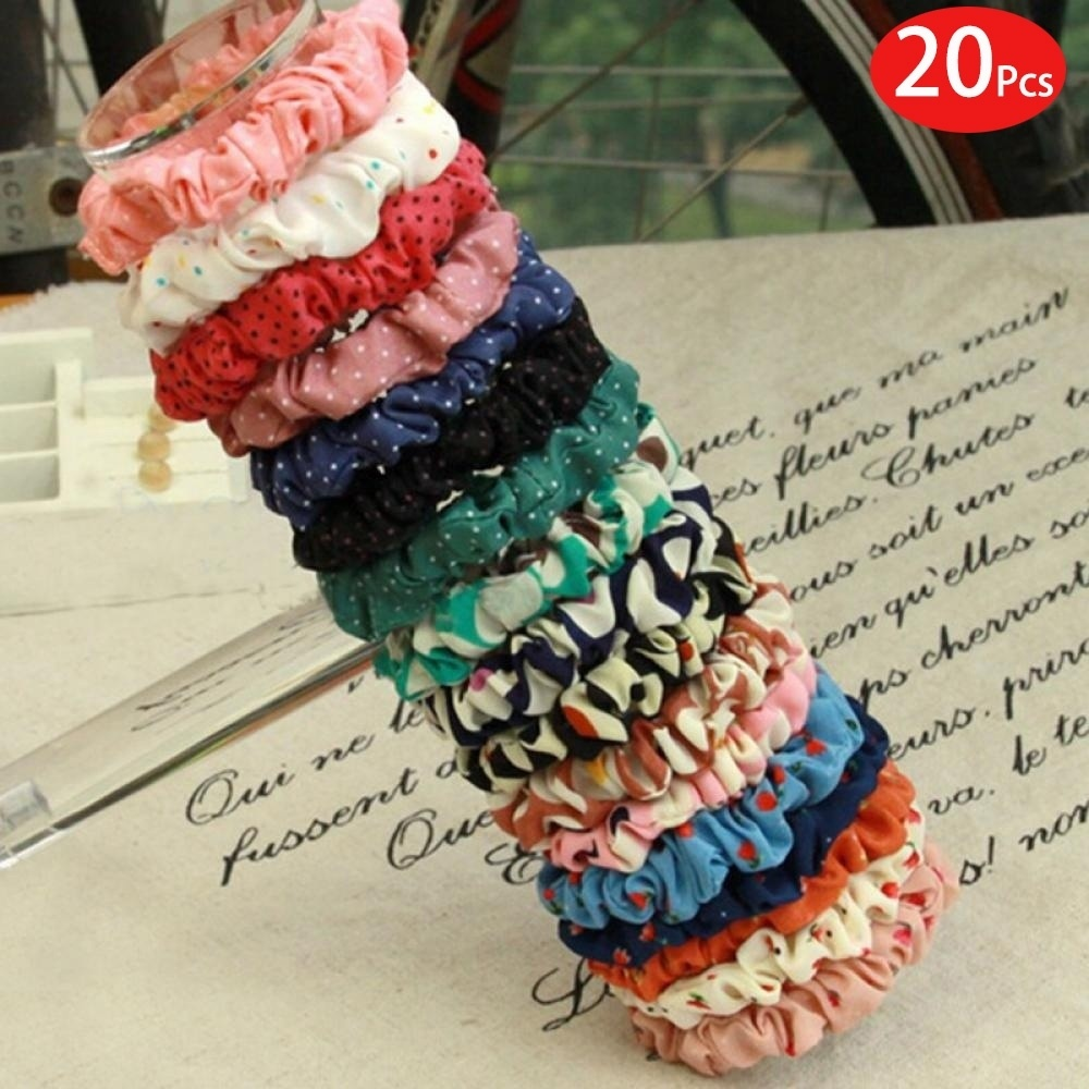 20Pcs Hair Scrunchies Hair Accessories Elastic Women Hair Band Rope Ponytail Holder Dot Print Hair Ties