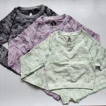 Nepoagym Frauen Camo Nahtlose Cropped Top Nahtlose Langarm Top Sport Tragen für Frauen Gym Yoga Shirt Crop Top Workout
