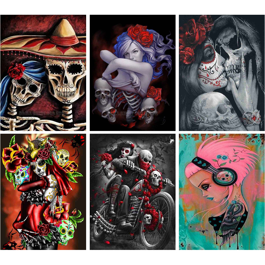Tattoo Girl Full Drill 5D Diamond Painting Embroidery Craft DIY Decor Halloween
