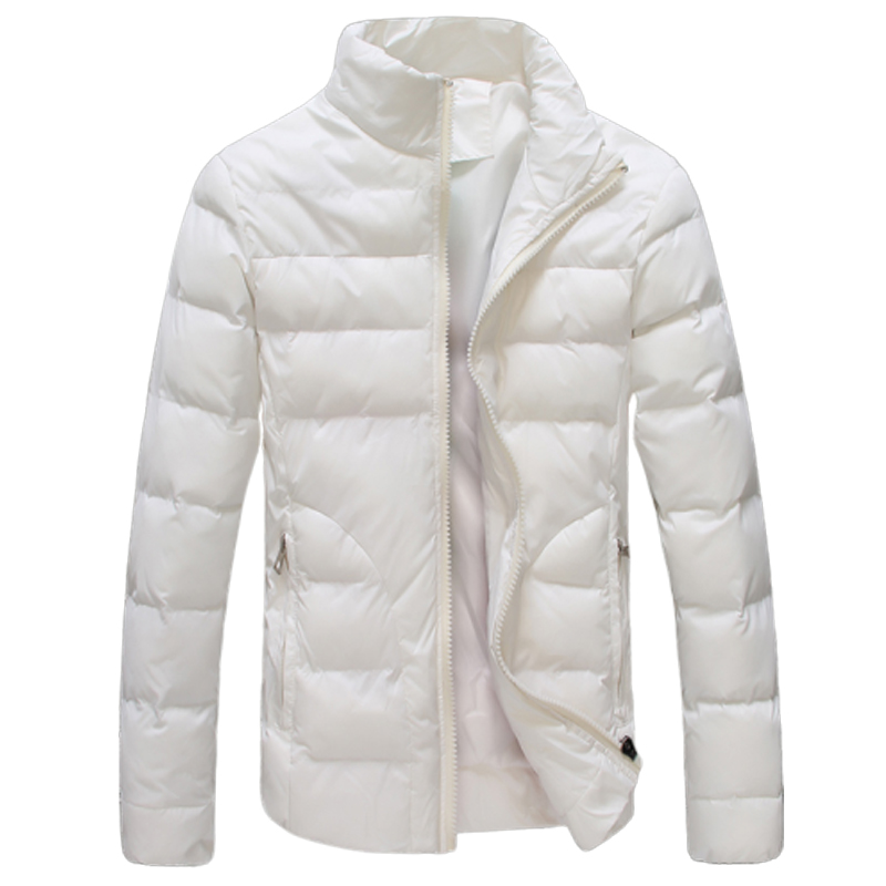 Winter Men Parka Padded Jacket Coat Mens Warm Jacket Solid Color Stand Collar Fashion White Male Coat Zipper Winter Clothes
