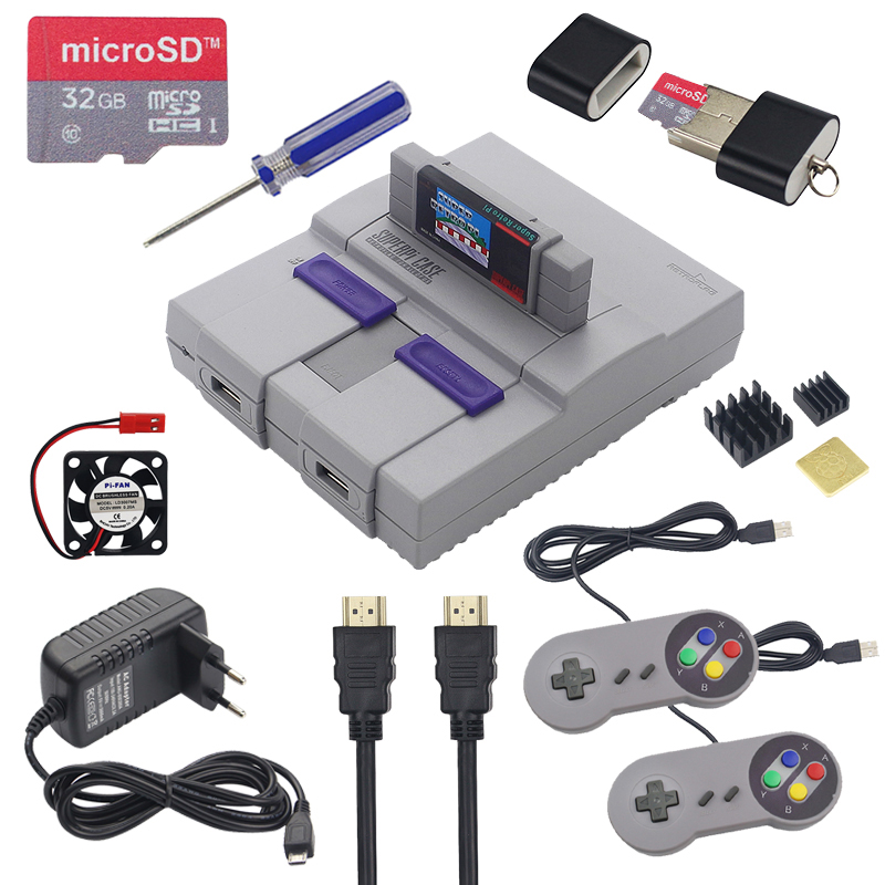 Retroflag SUPERPi CASE + Gamepad Controller + 32GB SD Card + 3A Power Adapter + Heatsink + HDMI For Raspberry Pi 3 Model B+