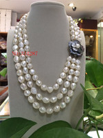 New Elegant lady's big 3row 9 10mm baroque white freshwater pearl necklace 20