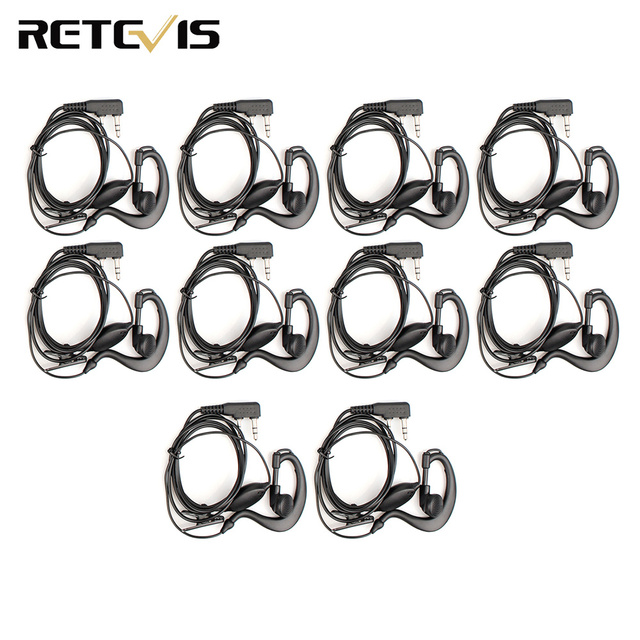 10pcs 2Pin PTT Earpiece Walkie Talkie Headset For KENWOOD BAOFENG UV 5R BF 888S RETEVIS H777 RT7 For QUANSHENG for PUXING TYT