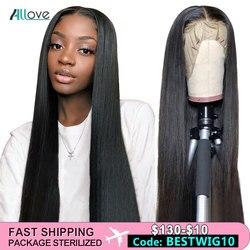 Allove recto delantero encaje pelucas de cabello humano 360 Remy peluca Frontal de encaje 13X4 13X6 brasileño recto peluca con malla Frontal 250 de densidad