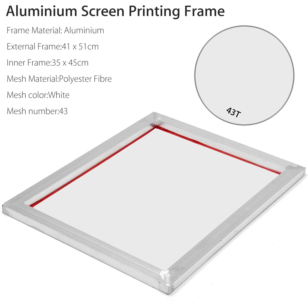 41 X 51cm A3 Screen Printing Aluminium Frame Stretched With 43T Silk Print Mesh For Printed Circuit Boards