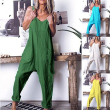 Summer NEW Solid Color One-Piece Casual Trousers Plus Size Temperament Folds Loose Pleats Stitching High Waist Sleeveless