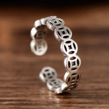 925 sterling silver retro Thai silver Chinese coin tail ring exquisite men women rings