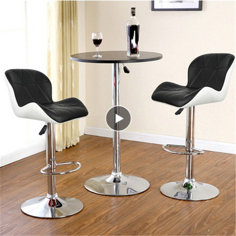 2PCS Swivel Bar Chair Adjustable Leisure White Synthetic Leather Height Pneumatic Pub Bar Stools Height Work Black Barber HWC
