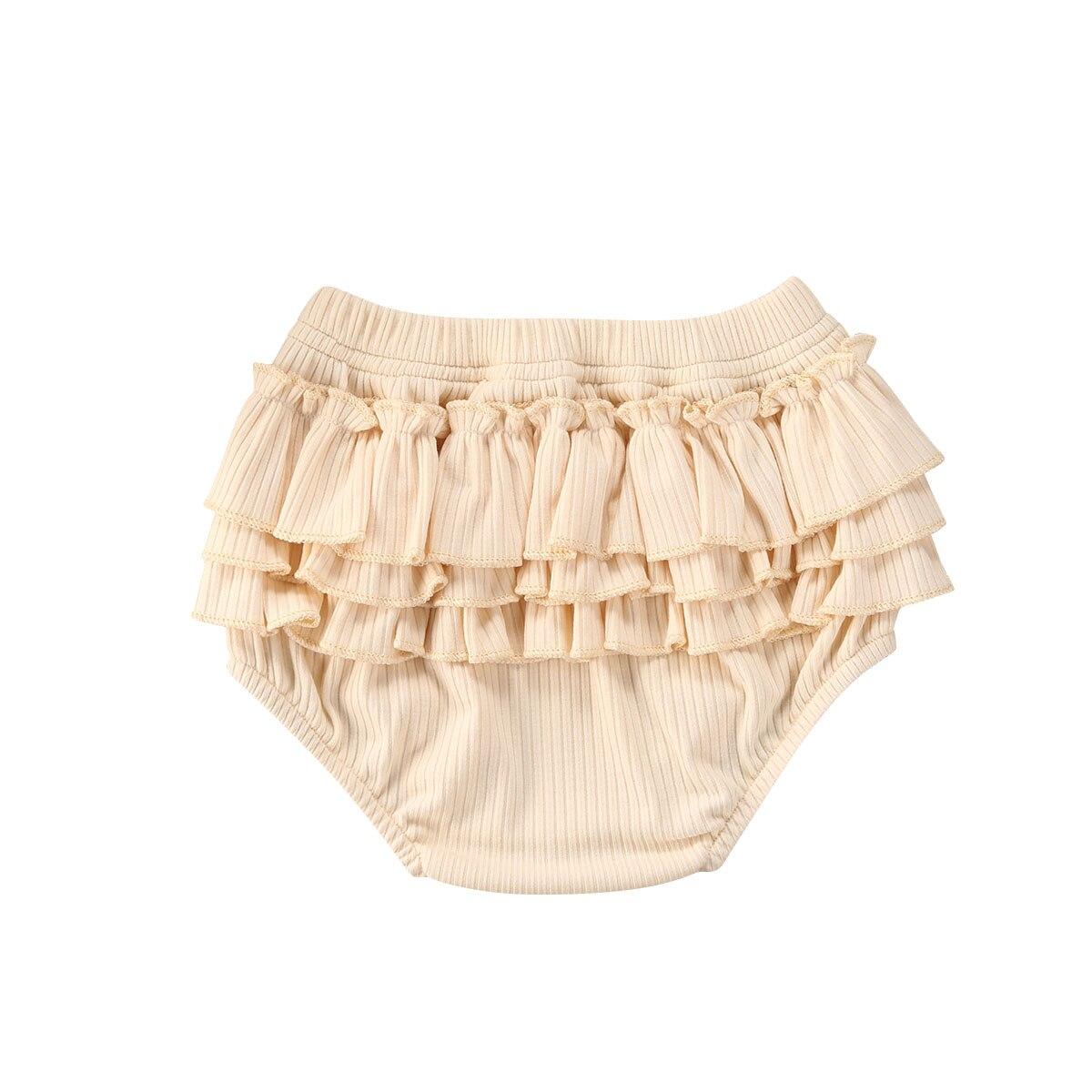 Fashion Toddler Babies Girls Boys Shorts Infant Baby Fold Bloomers Girls Pattern Shorts Toddler Ruffled Ribbed Trousers Pants