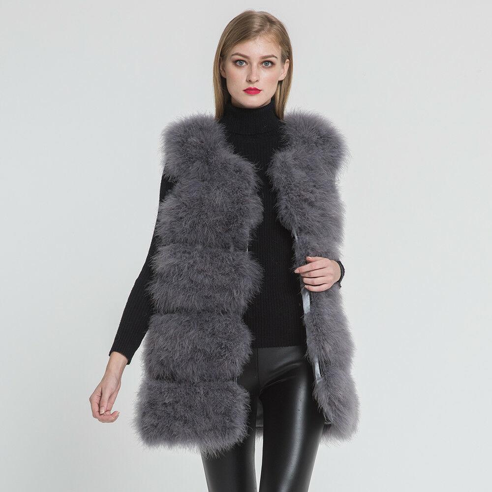 Жилет из натурального меха страуса, зимний теплый жилет, Модный женский меховой жилет - Цвет: Smoke gray