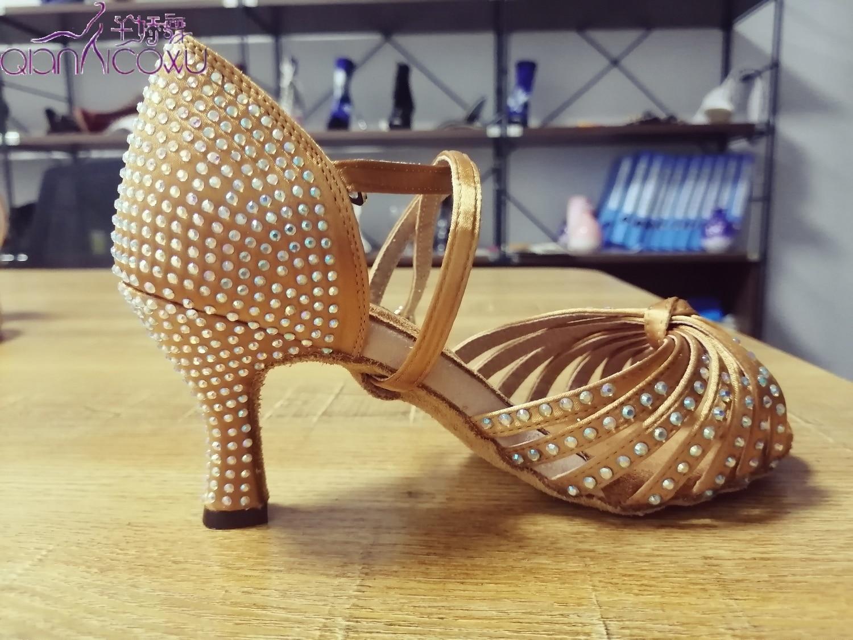 Fashion Jazz Salsa Ballroom Latin Dance Shoes For Dancing Women Plus Size Latino Stylish High Heel Summer Sandal Tan Rhinestones