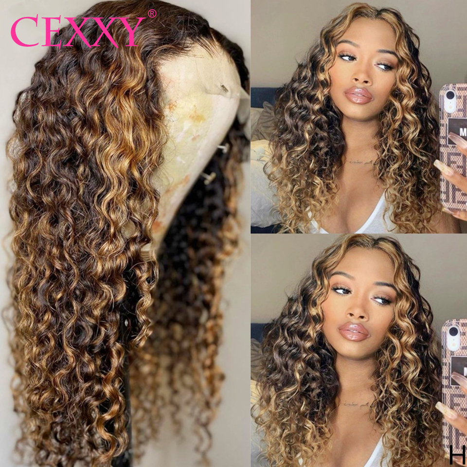 Curly Human Hair Wigs Highlight Ombre Hair #4/27 Deep Wave 4*4 Lace Closure Wigs For Black Women Remy 180% Density Colored Wigs