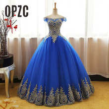Ball-Gown 16-Dress Embroidey Blue Quinceanera-Dress Tulle Gold Off-Shoulder Lace New