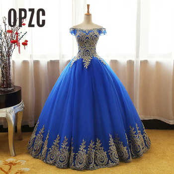 8 Layers Blue RED White Gold Lace Embroidey Quinceanera Dress New Sparkle Tulle Floor-length off shoulder 16 Ball Gown - discount item  41% OFF Special Occasion Dresses