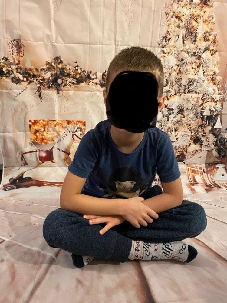 Gris Chic mur cheminée arbre de noël plancher en bois cadeau bougie famille Shoot Photocall enfant bébé Photo fond Photo toile de fond